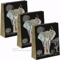 Elephant Gift Bags, Large, Gold Foil Art 26 x 32 x 13cm LARGE, Pack of 3